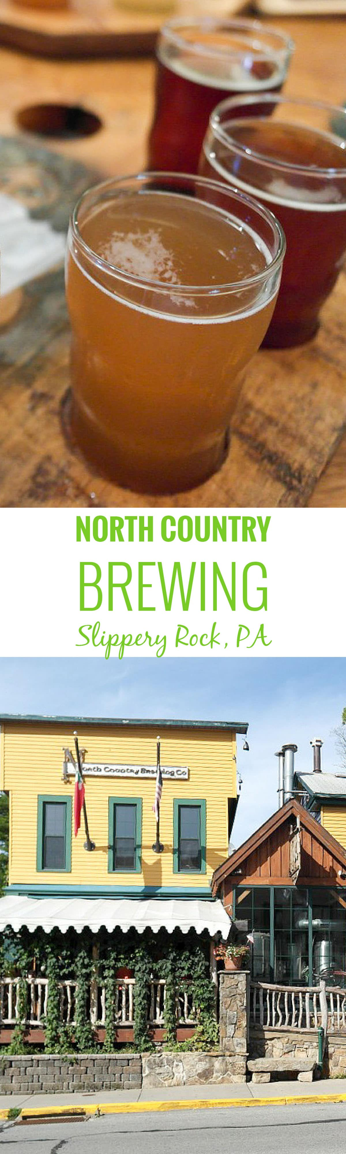 North Country Brewing in Slippery Rock, Pennsylvania. North Country Brewery is in a historic building from the 1800s that serves locally sourced food with a wide selection of beers.